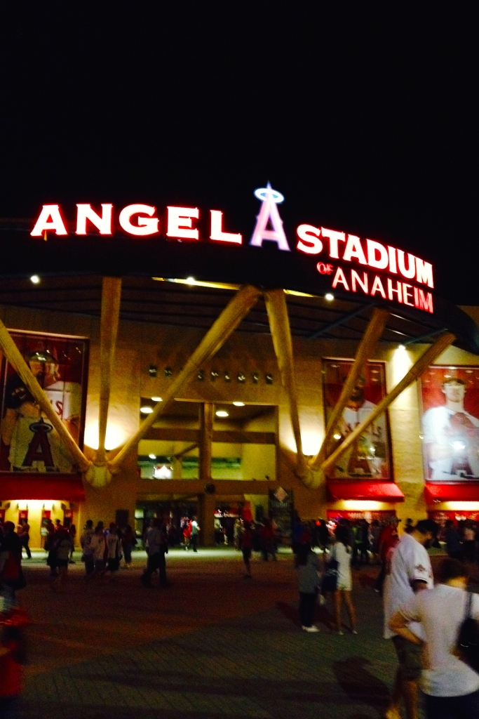 Angel Stadium lit up at night.